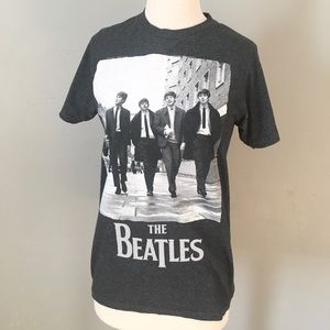 BEATLES Authentic Apple Records Gray Tee T Shirt